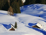 Cabins Nearly Covered in Snow in the German Alps Photographic Print by Walter Geiersperger