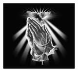 Praying Hands with Rosary Beads and Dove Giclee Print