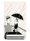 Illustration of Couple on Rainy Roof of Double-Decker Bus by Anne Harriet Fish Giclee Print