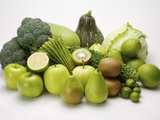 Stack of green fruits and vegetables Photographic Print