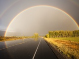 Double rainbow on country road in autumn Photographic Print by Frank Lukasseck