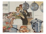 Magazine Illustration of Husband Kissing Wife in Kitchen Giclee Print