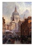 St. Paul&#39;s Cathedral and Ludgate Hill, London, England Giclee Print by John O&#39;connor