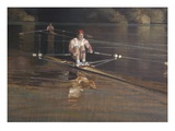 two men rowing in water Giclee Print
