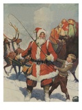Illustration of Santa and His Sleigh by Frank E. Schoonover Giclee Print
