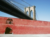 Brick Building under Brooklyn Bridge Photographic Print by Daniel Mirer