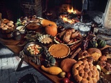 Table set with holiday foods Photographic Print by Nathan Benn