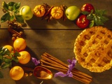 Pie and Raw Fall Ingredients Photographic Print