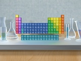 Periodic table of the elements with glassware Reproduction photographique