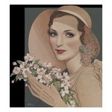Woman with flowers in picture hat Giclee Print