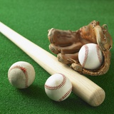 A Baseball, Gloves and a Bat Photographic Print