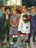 Illustration of children in schoolroom by Clara M. Burd Photographic Print