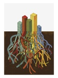 Office Building Roots Intertwined Giclee Print