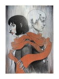 Couple Standing Back to Back Giclee Print