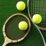 Tennis racket and tennis ball Reproduction photographique