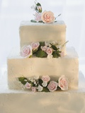 Wedding cake with flowers Photographic Print