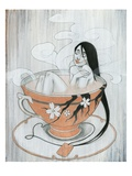 Woman Finding Comfort in Hot Tea Giclee Print