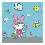 Bunny rabbit picking spring flowers Lámina giclée por Sabet Brands