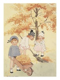 Children gathering leaves Giclee Print
