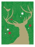 A silhouette of a deer with stars hanging from its antlers and a bird perched on it Giclee Print