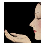 Woman in profile with soap flakes Giclee Print