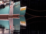 Fishing Boats and Their Reflections in Water, North Head, Grand Manan Island, New Brunswick, Canada Photographic Print by Garry Black