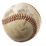 Baseball against white background close-up Photographic Print by Tom Hoenig