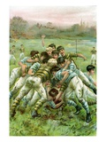 Illustration of Boys in Rugby Scrimmage Giclee Print