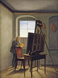 Caspar David Friedrich in His Studio Photographic Print by Georg Friedrich Kersting