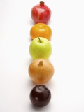 Five fruits and vegetables in a row Photographic Print