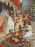 Children playing on Christmas morning Photographic Print