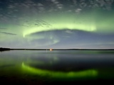 Aurora and the Leonids at Sturgeon Lake, Alberta, Canada. Photographic Print