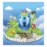 Building in a watering can shape Giclee Print