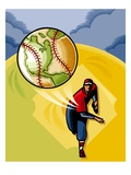 Baseball Player Throwing Earth Baseball Giclee Print