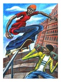 Two Men with Skateboard Giclee Print
