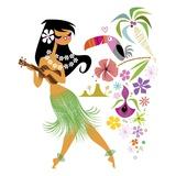 Danseuse de Hula Reproduction procédé giclée par Kirsten Ulve