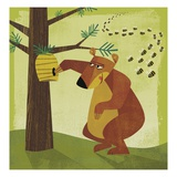 Bear Stealing Honey from Swarm of Bees Giclee Print