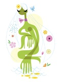 Woman with hand in pond Giclee Print by Kirsten Ulve