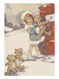 Illustration of girl and teddy bears mailing letters Giclee Print