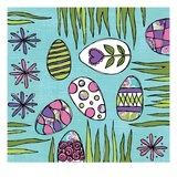 Easter Eggs and Grass Giclee Print by Anne Bryant