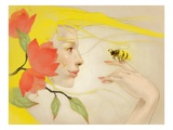 Woman with bee on finger Giclee Print by Tran Nguyen