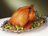 Whole Roast Turkey on Silver Platter Photographic Print by Jon Edwards