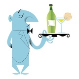 Waiter Holding Cocktail on Tray Giclee Print by Kirsten Ulve