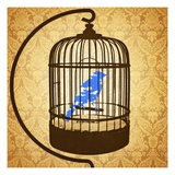 Bird in a cage Reproduction procédé giclée