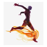 Runner and Flames Giclee Print