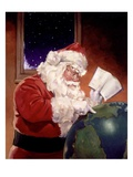 Santa Claus And Globe Lámina giclée