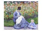 Camille Monet and a Child in the Artist's Garden in Argenteuil Reproduction procédé giclée par Claude Monet