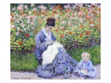 Camille Monet and a Child in the Artist's Garden in Argenteuil Giclée-tryk af Claude Monet