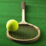 Tennis racket and tennis ball Photographic Print