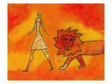 Woman Walking with a Lion Giclee Print by Marie Bertrand
